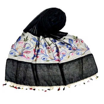 Black Designer Flower Ari Diamond Collection Stole For Women