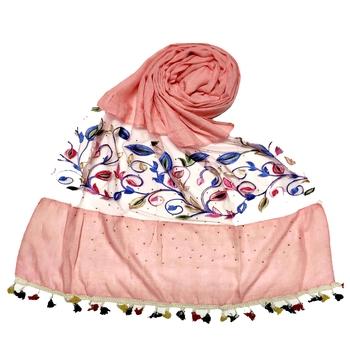 Pink Designer Flower Ari Diamond Collection Stole For Women