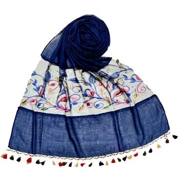 Blue Designer Flower Ari Diamond Collection Stole For Women