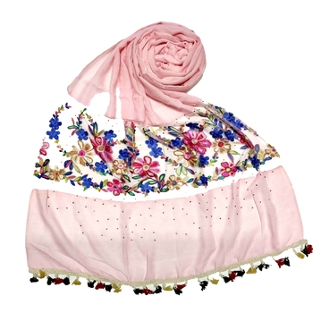 Pink Flower Ari Diamond Collection Stole For Women