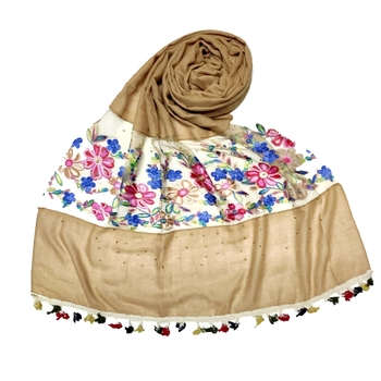 Brown Flower Ari Diamond Collection Stole For Women
