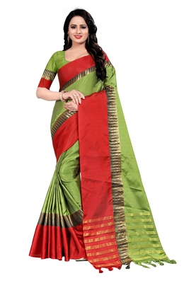 Green Weaving Embroidered Cotton Saree With Blouse
