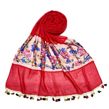 Red Flower Ari Diamond Collection Stole For Women