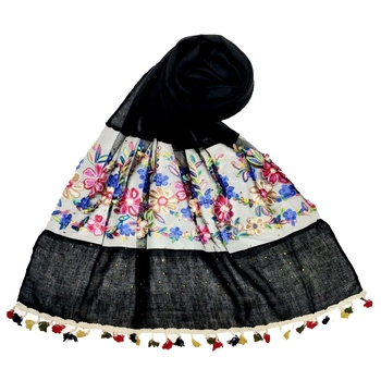 Black Flower Ari Diamond Collection Stole For Women