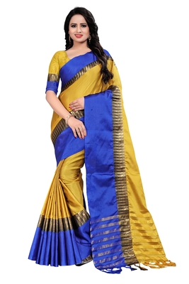 Yellow Weaving Embroidered Cotton Saree With Blouse