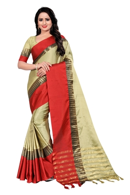 Cream Weaving Embroidered Cotton Saree With Blouse