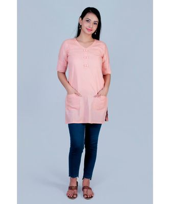 Peach linen short top with twin buttons on neck