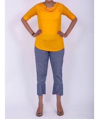 Mango yellow cowl neck rayon short top