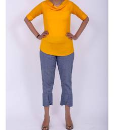 Mango yellow cowl neck rayon short top