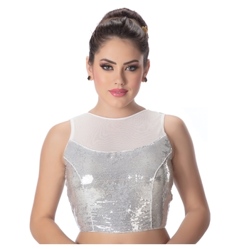 Silver Net High Neck Sequinned Butter Crepe Princess Cut Padded Sleeveless Back Open Readymade Saree Blouse