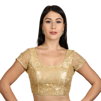 Back Open Art Silk Gold Net Short Net Sleeves Princess Cut Padded Readymade Saree Blouse