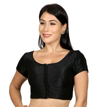 Black Raw Silk Princess Cut Plain Padded Readymade Saree Blouse
