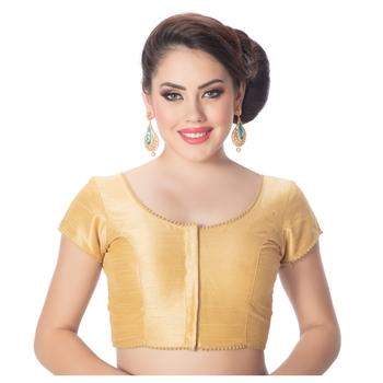 Gold Raw Silk Princess Cut Short Sleeves Padded Readymade Saree Blouse