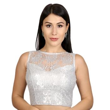 Silver High Neck Dupion Silk Full Net Padded Princess Cut Sleeveless Readymade Saree Blouse