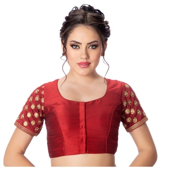 Jacquard Silk Embroidery Maroon Net Short Sleeves Padded Princess Cut Readymade Saree Blouse