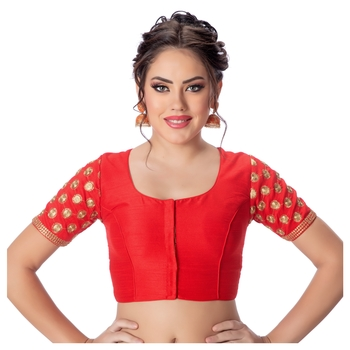 Jacquard Silk Embroidery Red Net Short Sleeves Padded Princess Cut Readymade Saree Blouse