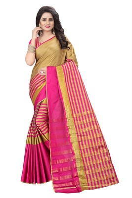 Pink Weaving Embroidered Cotton Saree With Blouse