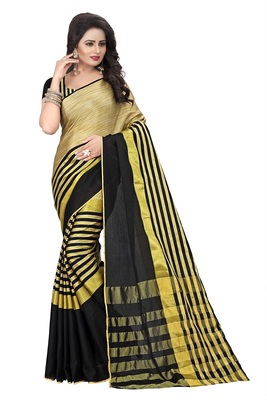 Black Weaving Embroidered Cotton saree With Blouse