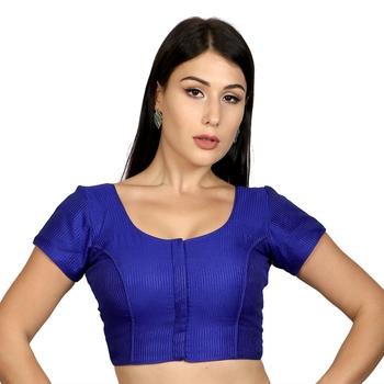 blue Banglori Silk Princess Cut Padded Short Sleeves Readymade Saree Blouse