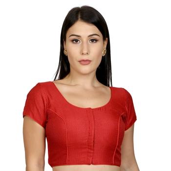 Red Banglori Silk Princess Cut Padded Short Sleeves Readymade Saree Blouse