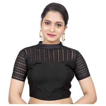 Black Jute Silk Net Stand Collar Net Short Sleeves Princess Cut Back Open Padded Readymade Saree Blouse