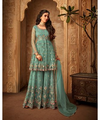 green embroidered net semi stitched salwar with dupattasea green