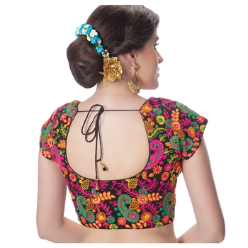 Cotton Kutchi Hand Embroidered Mirror Work Black Princess Cut Padded Short Sleeves Readymade Saree Blouse