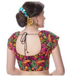 Cotton Kutchi Hand Embroidered Mirror Work Black Princess Cut Padded Short Sleeves Readymade Saree Blouse