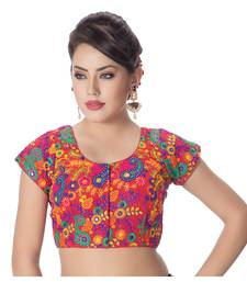 Cotton Kutchi Hand Embroidered Mirror Work Red Princess Cut Padded Short Sleeves Readymade Saree Blouse