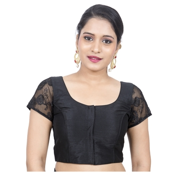 Black Tussar Silk Short Net Sleeves Princess Cut Padded Readymade Saree Blouse