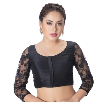 Black Round Neck Dupion Silk 3/4Th Net Sleeves Princess Cut Padded Readymade Saree Blouse
