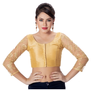 Gold Round Neck Dupion Silk 3/4Th Net Sleeves Princess Cut Padded Readymade Saree Blouse