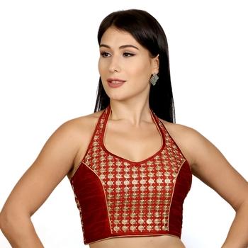 Maroon Banglori Silk Halter Neck Embroidery Sleeveless Princess Cut Backless Readymade Saree Bikini Blouse