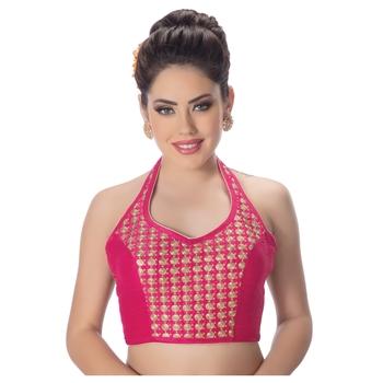 Banglori Silk Halter Neck Embroidery Pink Sleeveless Princess Cut Backless Readymade Saree Bikini Blouse
