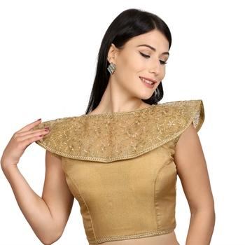 Gold Tussar Silk High Neck Sleeveless Princess Cut Padded Readymade Saree Blouse