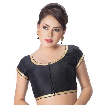 Dupion Silk Black Princess Cut Padded Short Sleeves Golden Lace Border Readymade Saree Blouse
