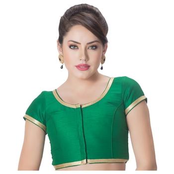 Dupion Silk Green Princess Cut Padded Short Sleeves Golden Lace Border Readymade Saree Blouse