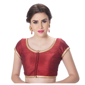 Dupion Silk Maroon Princess Cut Padded Short Sleeves Golden Lace Border Readymade Saree Blouse