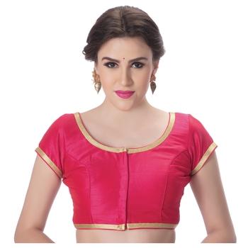 Dupion Silk Pink Princess Cut Padded Short Sleeves Golden Lace Border Readymade Saree Blouse