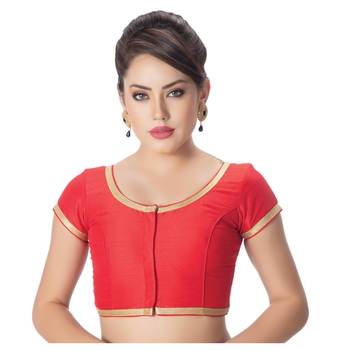 Dupion Silk Red Princess Cut Padded Short Sleeves Golden Lace Border Readymade Saree Blouse