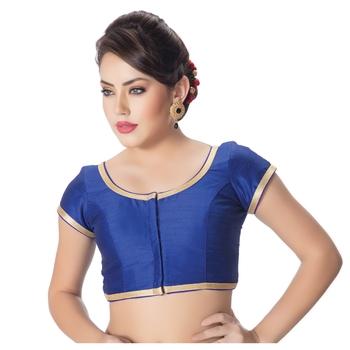 Dupion Silk Royal Blue Princess Cut Padded Short Sleeves Golden Lace Border Readymade Saree Blouse