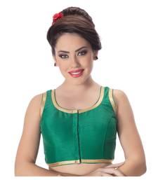 Gold Plain Dupion Silk Green Lace Princess Cut Padded Sleeveless Readymade Saree Blouse