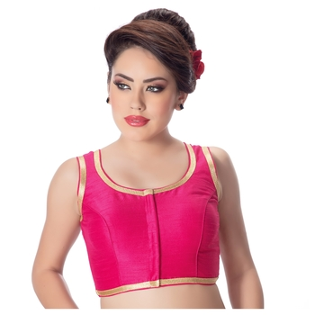 Pink Plain Dupion Silk Golden Lace Princess Cut Padded Sleeveless Readymade Saree Blouse