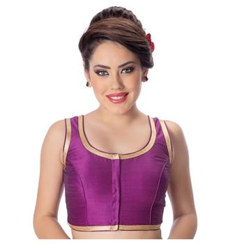 Purple Plain Dupion Silk Golden Lace Princess Cut Padded Sleeveless Readymade Saree Blouse