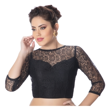 Net Butter Crepe Black Princess Cut Padded 3/4Th Sleeves Readymade Saree Blouse