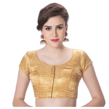 Golden Desginer Brocade Pasily Desgin Padded Princess Cut Short Sleevels Readymade Saree Blouse