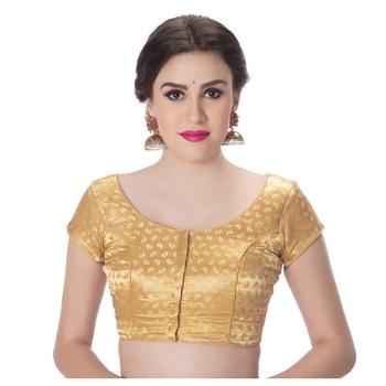 Golden Desginer Brocade Padded Princess Cut Short Sleevels Readymade Saree Blouse