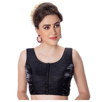 Party Wear Dupion Silk Black Plain Sleeveless Padded Princess Cut Readymade Saree Blouse