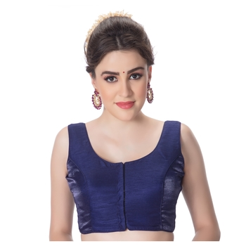 NEW Blue Readymade Wedding Art Dupion Silk Solid Work Choli Stitched Saree Blouse Party Wear Plain Tunic for Sari Women Crop Top