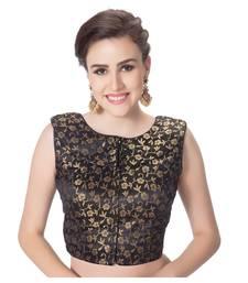 Black Brocade Petar Pan Collar Neck Princess Cut Padded Sleeveless Front Full Zipper Readymade Saree Blouse